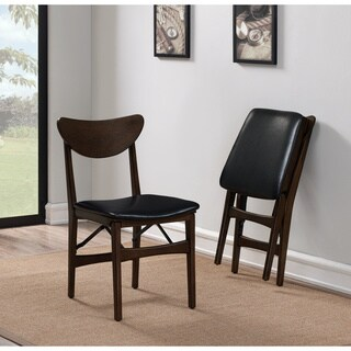 Carson Carrington Mid-century Folding Chair Black Bonded (Set of 2)