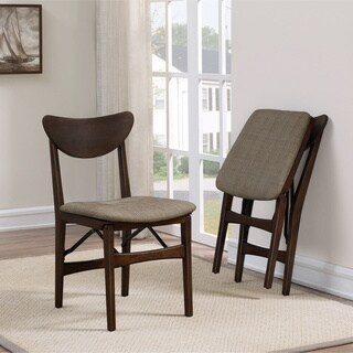 Carson Carrington Mid-century Folding Chair Natural Weave (Set of 2)