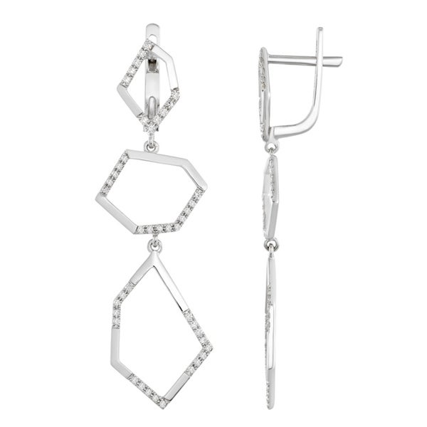 af43458ac Shop Dangle diamond earrings with white gold and fancy geometrical shapes  by Lucia Costin - White H-I - Free Shipping Today - Overstock - 19556891