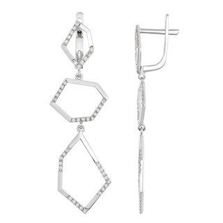 Dangle diamond earrings with white gold and fancy geometrical shapes by Lucia Costin - White H-I