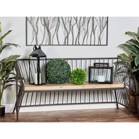 Modern Iron Bench with Wooden Slab Seat