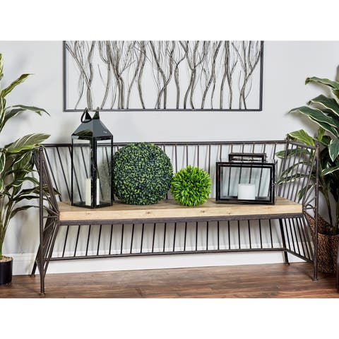 Modern 32 x 62 Inch Brown Wood and Iron Bench by Studio 350