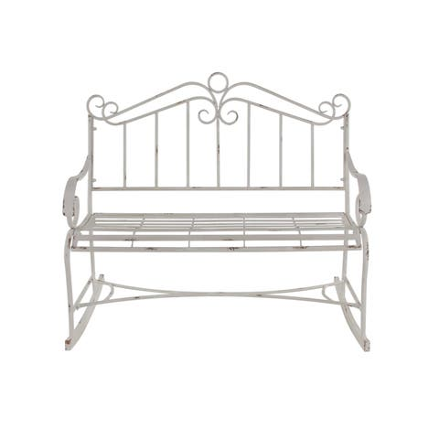 Traditional Distressed Iron Scrollwork Garden Bench
