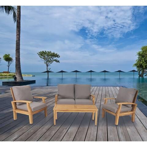 4-Piece Elegant Teak Wood Sofa Set