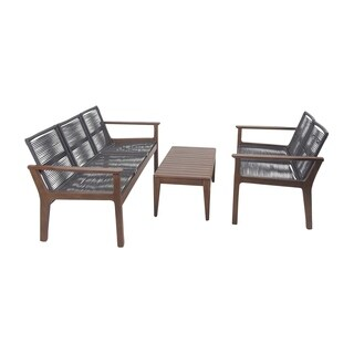 Set of 3 Rustic Teak Wood and Stainless Steel Sofa Set