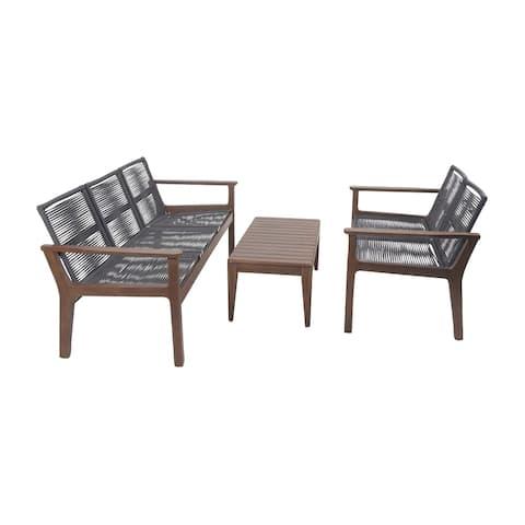 Set of 3 Rustic Teak Wood and Stainless Steel Sofa Set