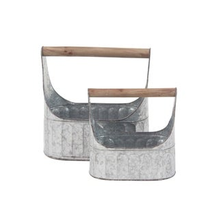 Set of 2 Farmhouse Iron Garden Caddies with Wooden Handle