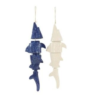 Set of 2 Coastal Ceramic Segmented Fish Wind Chimes