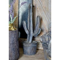 Rustic Polystone Candelabra Cactus Sculpture with Pot