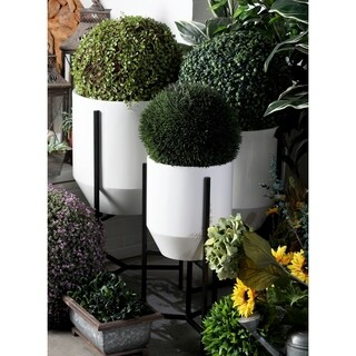 Set of 3 Modern Iron Tapered Round White and Black Planters with Stand by Studio 350