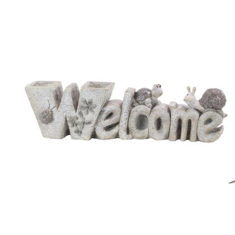 Traditional Resin Carved Welcome Sign Sculpture