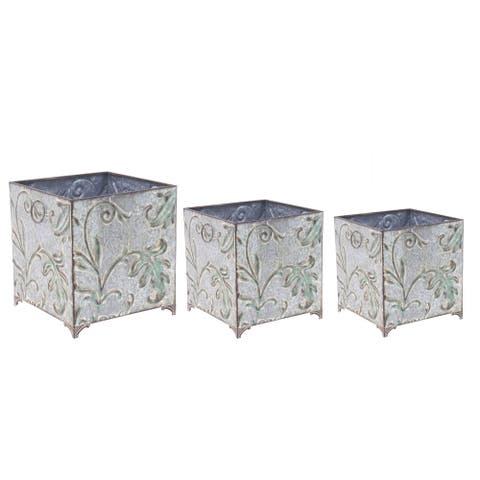 Set of 3 Traditional Iron Botanical-Inspired Square Planters