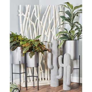 Set of 3 Modern Matte Gray Drum Planters with Stand by Studio 350