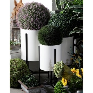Set of 3 Modern Iron White and Black Drum Planters with Stand