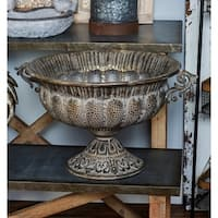 Traditional Round Iron Pedestal Bowl Planter