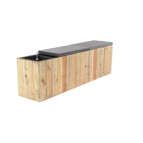Shop Rustic Wood Rectangular Plank Style Planter Bench On Sale
