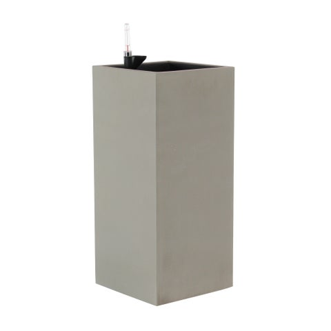 Modern Concrete Square Tower Gray Lined Planter