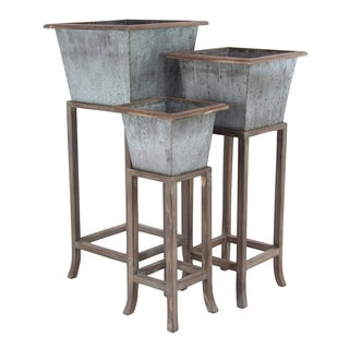 Set of 3 Rustic Iron and Wood Tapered Square Planters with Stand
