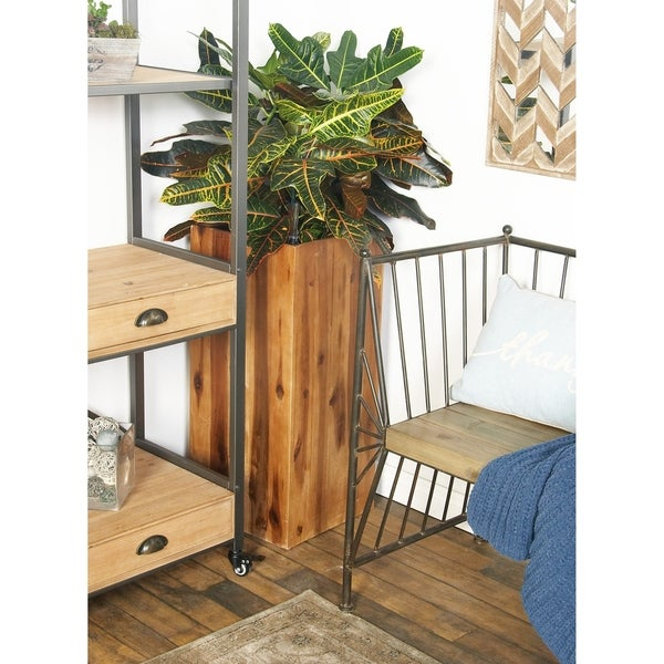 Rustic 30 X 13 Inch Rectangular Plank Type Planter By Studio 350