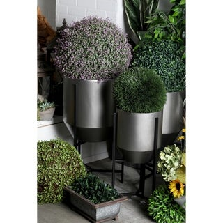 Set of 3 Modern Iron Tapered Round Planters with Stand