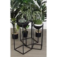 Set of 3 Modern Iron Rectangular-Framed Bowl Plant Stands
