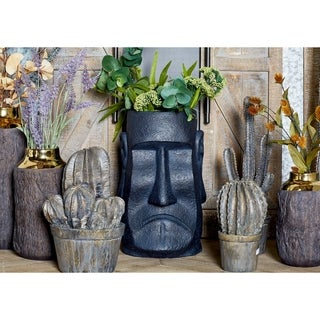 15 inch Traditional Fiber Clay Stone Face Black Planter