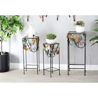 Set of 3 Natural Iron Stems and Leaves Square Plant Stands