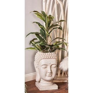 24 inch Traditional Fiber Clay Buddha Head White Planter