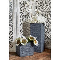 Set of 3 Modern Fiber Clay Square Tower Black Planters