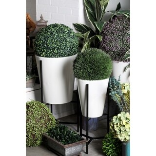 Set of 3 Modern Iron Conical White and Black Planters with Stand