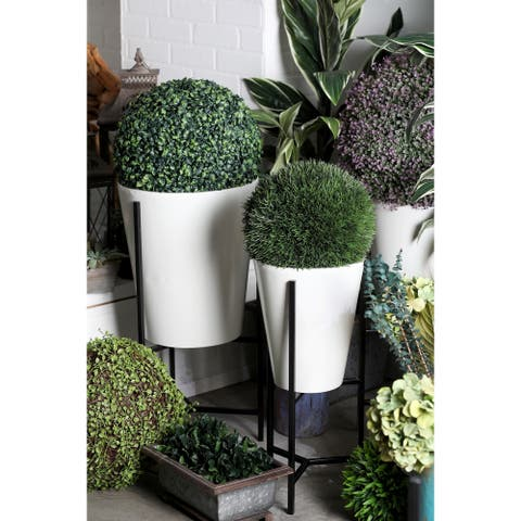 Set of 3 Modern Conical White Metal Planters with Stand by Studio 350