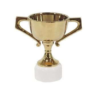 14 X 9 inch Modern Gold-Finished Ceramic Trophy Urn