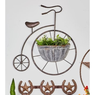 Traditional 22 x 21 Inch Iron Bicycle Wall Planter by Studio 350