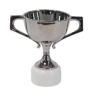 18 X 12 inch Modern Silver-Finished Ceramic Trophy Urn