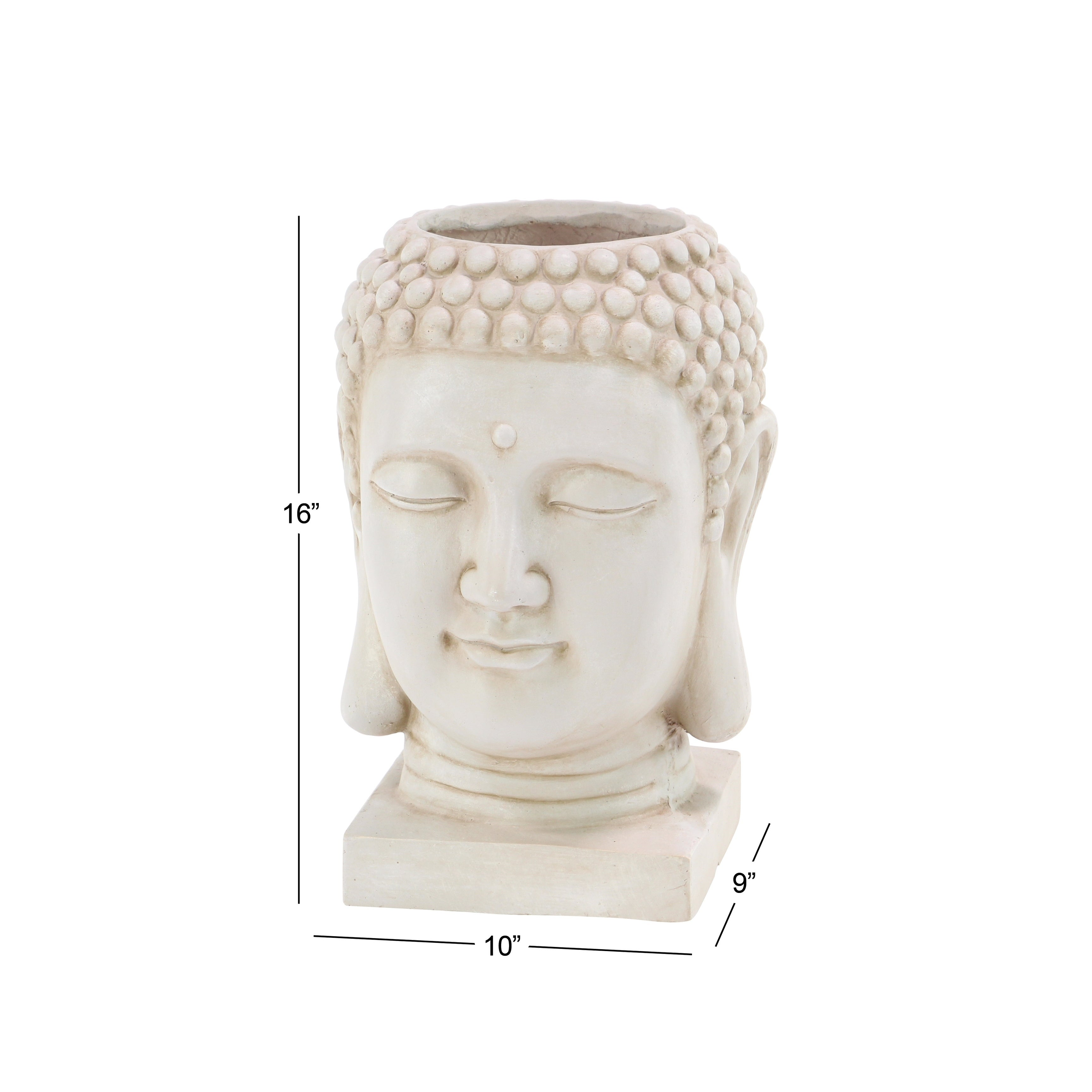 Crowned Buddha Head Planter Statue