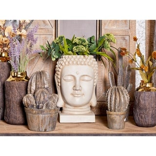"""Large White Buddha Statue Indoor & Outdoor Planter 10"""" x 16"""""""
