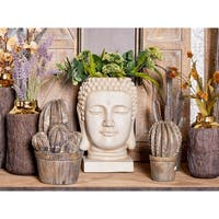 "Large White Buddha Statue Indoor & Outdoor Planter 10"" x 16"""