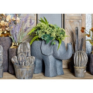 14 inch Traditional Fiber Clay Gray Elephant Planter