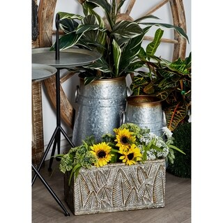 Set of 3 Industrial Iron Leaf Rectangular Planters