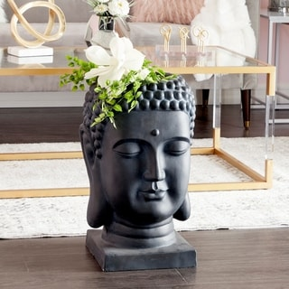 "Extra Large Black Buddha Statue Indoor & Outdoor Planter 14"" x 24"""
