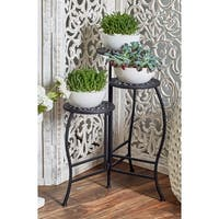 Modern Black Iron Pierced Top Design Folding Plant Stand