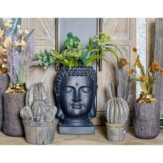 Traditional 16 x 10 Inch Black Buddha Head Planter by Studio 350