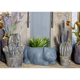 7 inch Traditional Fiber Clay Gray Cat Planter