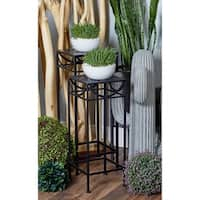 Set of 3 Modern Black Iron Pierced Top Design Square Plant Stands
