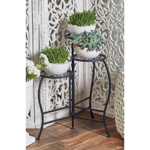 Modern 24 Inch Matte Black 3-Tier Folding Plant Stand by Studio 350