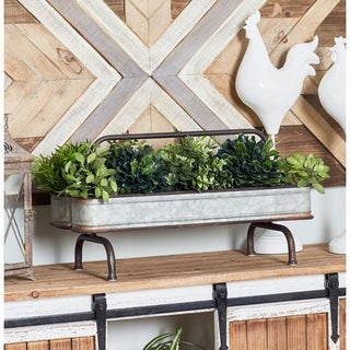 Farmhouse 13 x 24 Inch Galvanized Double Metal Planter by Studio 350