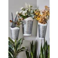 Set of 3 Farmhouse Iron Conical Gray Wall Planters