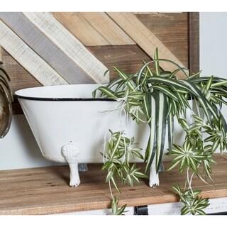 Contemporary Metal Enamel Tub Flower Planter