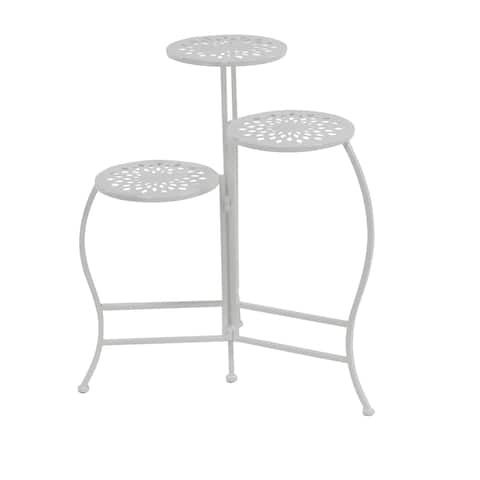 Modern White Iron Pierced Top Design Folding Plant Stand
