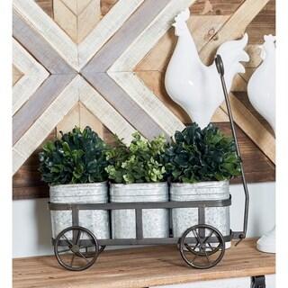 Farmhouse Iron 3-Pot Vintage Wagon Planter